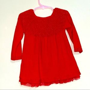 Red lace little girls dress